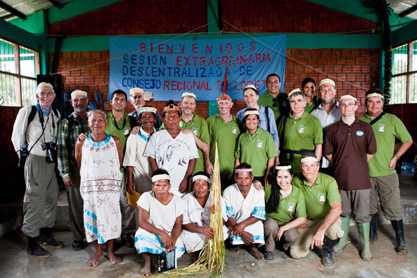 NCI team with Maijuna community members and friends at the declaration of the Maijuna-Kichwa RCA in Peru.