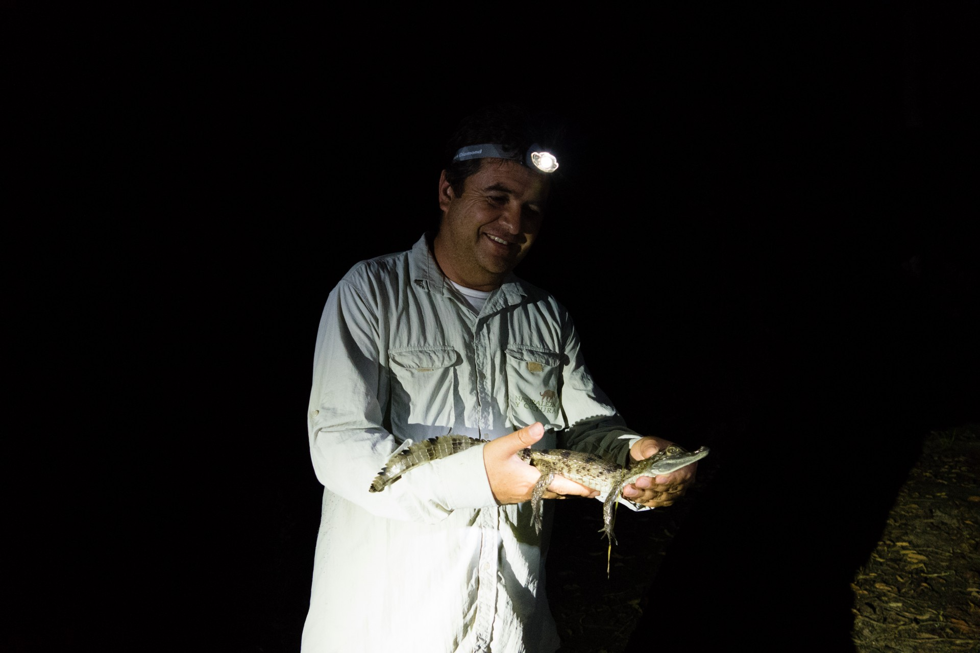 Renzo with a caiman