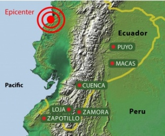 Map of NCI offices relative to earthquake epicenter.