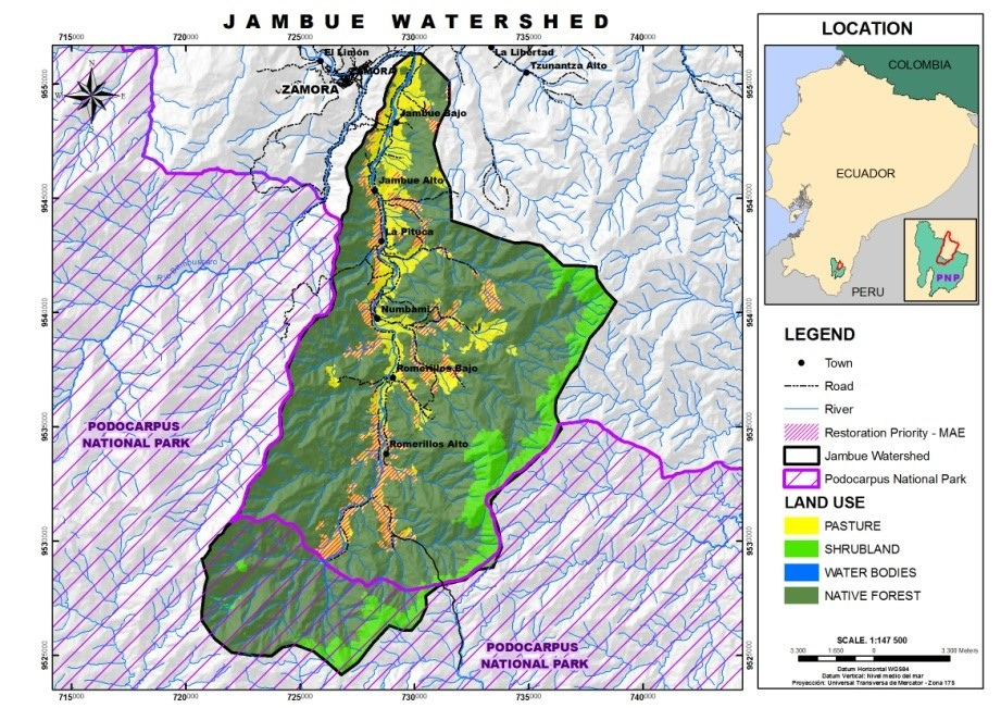 Ecuador's Ministry of Environment has identified the reddish hatch marks (approx. 4,200 acres) as areas appropriate for reforestation. Santa Cecilia is between la Pituca and Numbami.