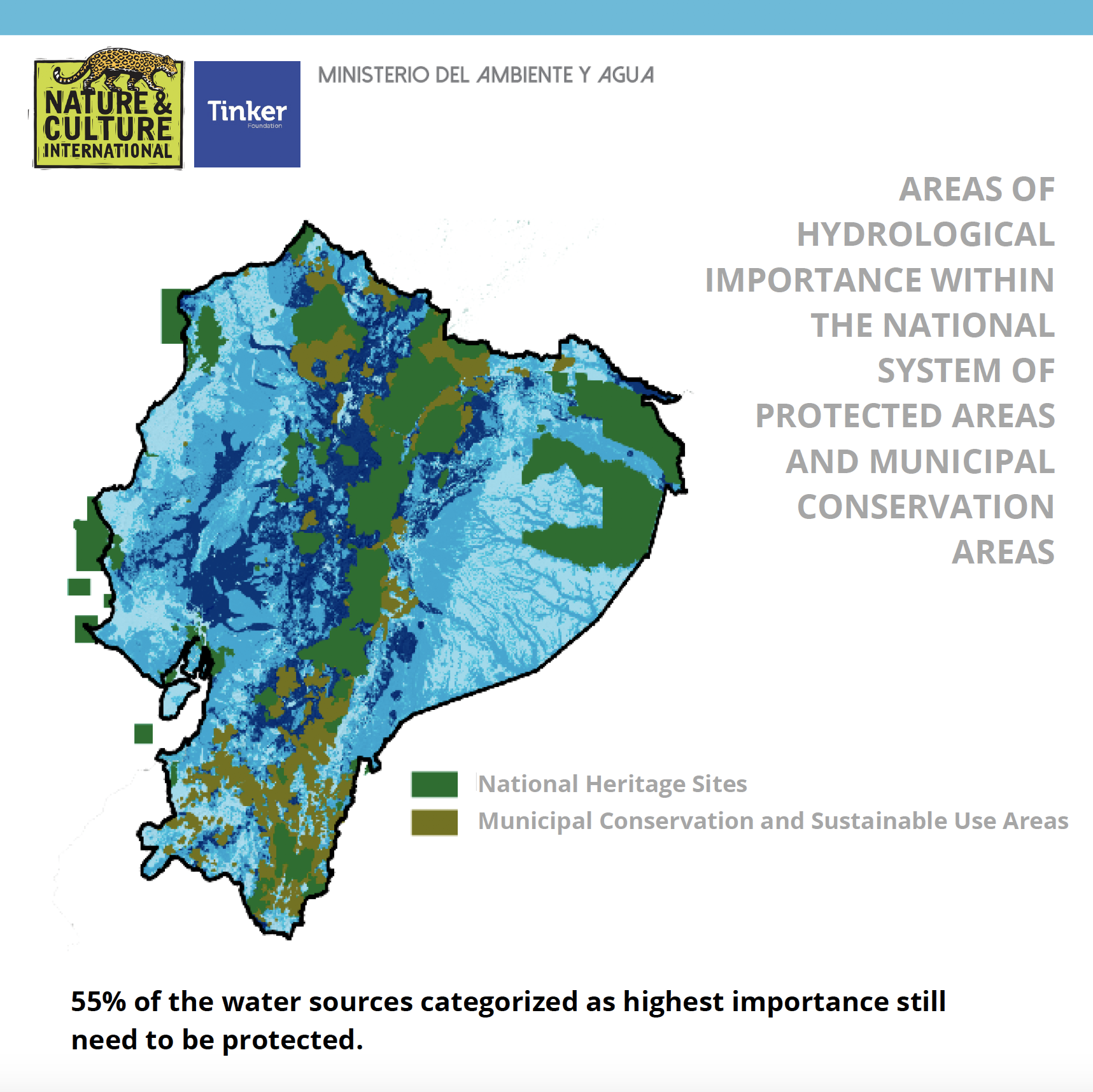 Map showing areas of water importance in Ecuador
